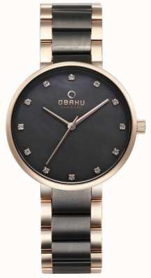 Obaku Womans Glad Two Tone Gold/black Watch V189LXVJSJ