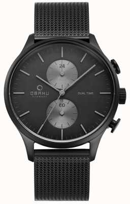 Obaku Mens Gran Charcoal Mesh Chrono Watch V196GUBBMB