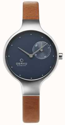 Obaku Womand Eng Brown Leather Chrono Watch V201LDCLRZ