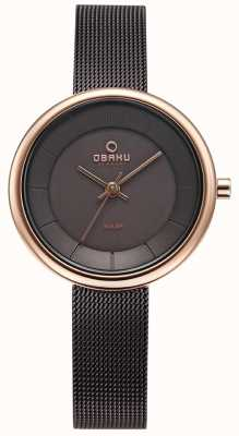 Obaku Womens Lys Walnut Mesh Bracelet Watch V206LRVNMN