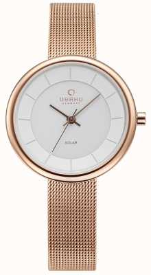 Obaku Womans Lys Rose Gold Mesh Bracelet Watch V206LRVWMV
