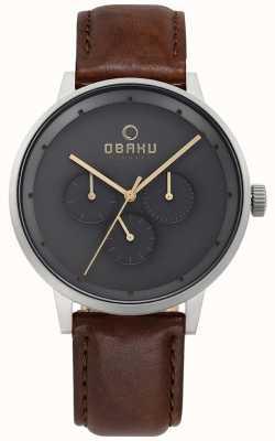 Obaku Mens Venlig Brown Leather Watch V208GMCJRN