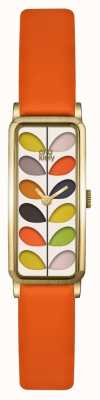 Orla Kiely Womens Stem Gold Case Orange Strap Watch OK2156