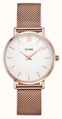 CLUSE Minuit Rose Gold Case White Dial/rose Gold Mesh Strap CL30013