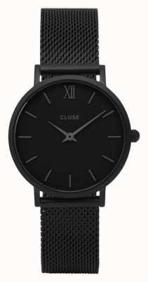 CLUSE Minuit Black Case With Black Dial/black Mesh Strap CL30011