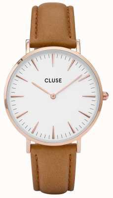 CLUSE La Boheme Rose Gold Case White Dial/caramel Strap CL18011