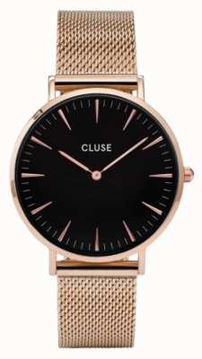 CLUSE La Boheme Rose Gold Case Black Dial/rose Mesh Strap CW0101201003