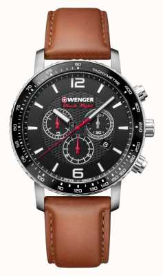 Wenger mens Roadster Black Night Chrono Leather Strap 01.1843.104