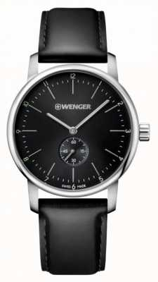 Wenger mens Urban Classic Black Leather watch 01.1741.102
