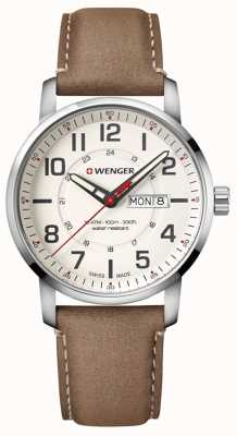 Wenger mens Attitude Brown Leather Watch 01.1541.103