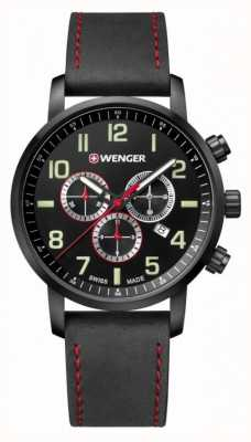 Wenger mens Attitude Chrono Black Leather Watch 01.1543.104