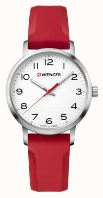 Wenger womens Avenue Red Silicone Strap Watch 01.1621.105