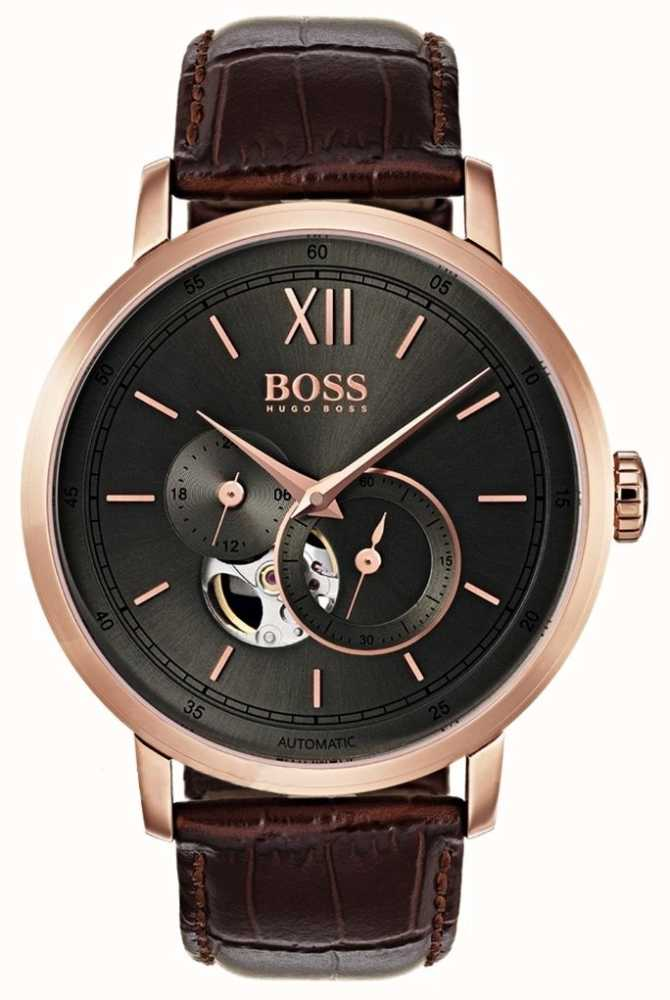 hugo boss mens signature automatic brown leather watch 1513506 first class watches. Black Bedroom Furniture Sets. Home Design Ideas