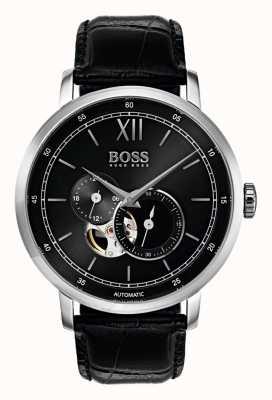Hugo Boss Mens Signature Automatic Black Leather Watch 1513504