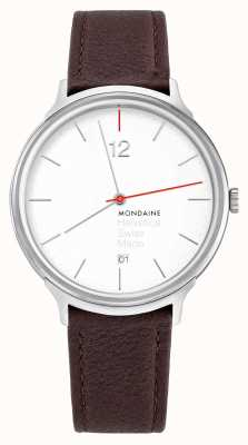 Mondaine Helvetica Spiekermann Light 38mm Brown Leather Strap MH1.L2212.LG