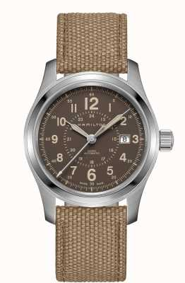 Hamilton Khaki field auto brown canvas strap H70605993