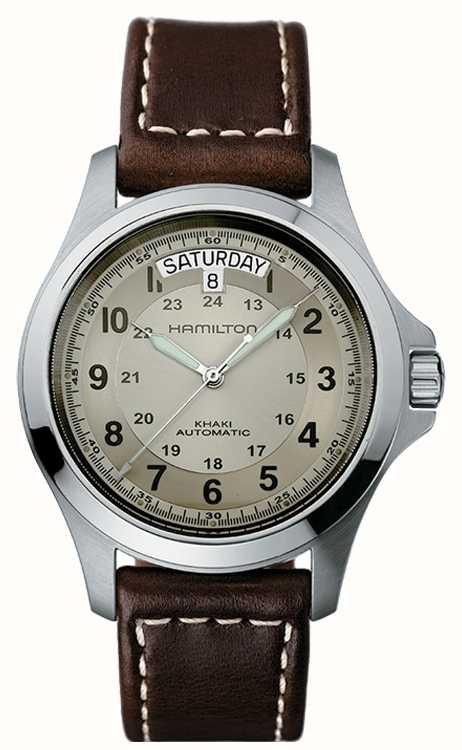 9b36772c0 Hamilton Khaki Field Auto Brown Leather H64455523 - First Class Watches™