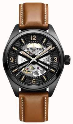 Hamilton Skeleton Field Auto Brown Leather H72585535