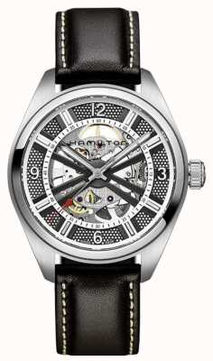 Hamilton Skeleton Field Auto Black Leather H72515585