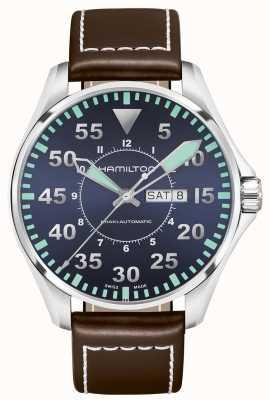 d4c38104826 Hamilton Mens Khaki X Wind Brown Leather Strap Black Dial H77616533 ...