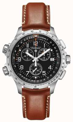 Hamilton Aviation X-Wind GMT Brown Leather H77912535