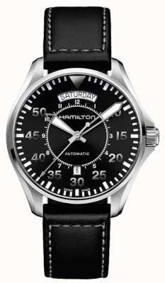 Hamilton Khaki Pilot Day Date Auto Black Leather H64615735