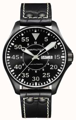 Hamilton Khaki Pilot Auto Black Leather H64785835
