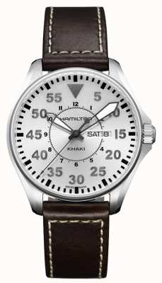 Hamilton Khaki Pilot Quartz Brown Leather H64611555