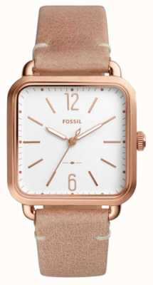 Fossil Womens Micah Rose Gold Plated Case Leather Strap ES4254