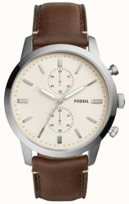 Fossil Mens Townsman Brown Leather Strap Stainless Steel Case FS5350