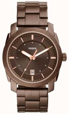 Fossil Mens Machine Brown Dial Brown Plated Stainless Steel FS5370