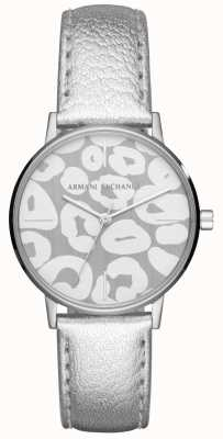 Armani Exchange Womens Lola Silver Leather Strap Stainless Steel Case AX5539
