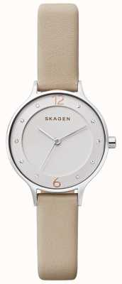 Skagen Womens Anita Silver Dial Stainless Steel Case Leather Strap SKW2648
