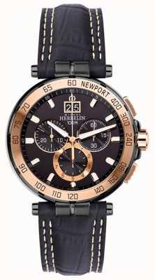Michel Herbelin Mens Newport Yacht Club Chronograph Black Strap Black Dial 36656/TR14