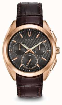 Bulova Mens Curv Chronograph Brown Leather Strap 97A124
