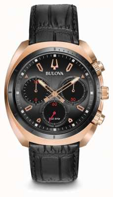 Bulova Mens Sport Curv Chronograph Black Leather 98A156