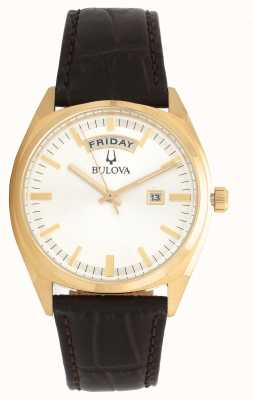 Bulova Mens Classic Gold Tone With Leather Strap 97C106