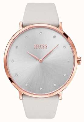 Hugo Boss Womans Jillian Rose Gold Tone Plated Case Grey Leather 1502412