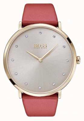 Hugo Boss Womans Jillian Gold Tone Plated Case Tan Leather 1502411