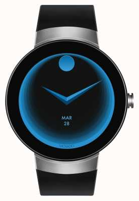 Movado Connect silver case black silicone bracelet smartwatch 3660016