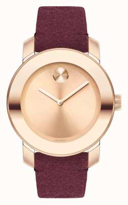 Movado Unisex Bold Rose Gold Red Suede Strap 3600447