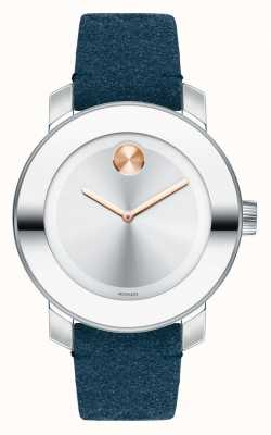 Movado Unisex Bold Stainless Steel Blue Suede 3600446