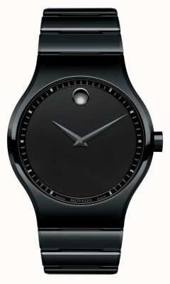 Movado Mens Black Ceramic Quartz Watch 0607047