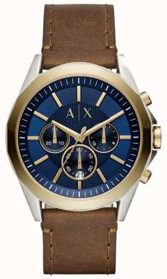 Armani Exchange Mens Blue Chronograph Brown Leather Strap AX2612