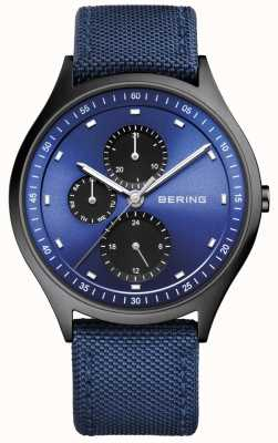 Bering Mens Ultra Light Titanium Chronograph Nylon Blue 11741-827