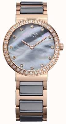 Bering Womans High Tech Ceramic Rose Gold Plated Steel 10729-769