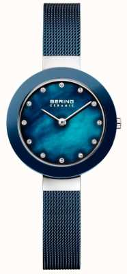 Bering Womans Ceramic Blue Milanese Strap 11429-387