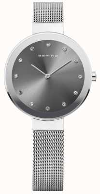 Bering Womans Classic Thin Silver Milanese Strap 12034-009