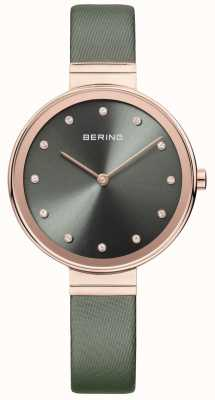 Bering Womans Classic Slim Satin Leather Green 12034-667