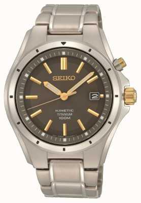 Seiko Mens Titanium Kinetic Black Gold Accents SKA765P1